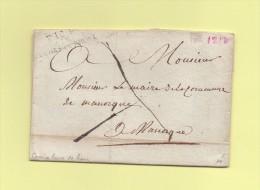 Aix - 12 - Bouches Du Rhone - Port Paye Destination Manosque - Courrier De La Mairie De Rians - 25 Janvier 1818 - 1801-1848: Precursori XIX