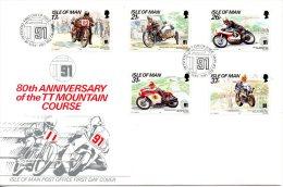 ILE DE MAN. N°502-6 De 1991 Sur Enveloppe 1er Jour. Tourist Trophy Mountain. - Moto