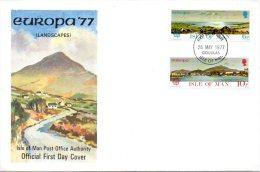 ILE DE MAN. N°88-9 De 1977 Sur Enveloppe 1er Jour. Paysages. - Europa-CEPT