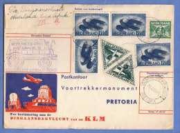 NEDERLAND 1938 - KLM Flugpostbrief Mit 7 Fach Frank. + Südafrikanische Nachporto Frankierung