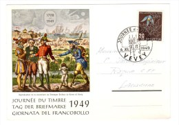 Carte Journée Du Timbre, Tag Der Briefmarke, 1949 Pro Juventute - Día Del Sello