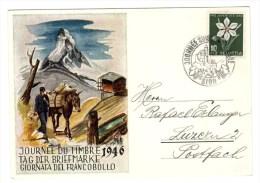 Carte Journée Du Timbre, Tag Der Briefmarke, 1949 Pro Juventute, Mont Cervin, Zermatt - Día Del Sello