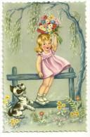 Petite Fille Sur Une Barrière, Petit Chien Et Bouquet De Fleurs. Photochrom Glacée 818 - Hedendaags (vanaf 1950)