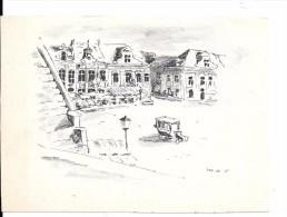 Bruxelles, Grand-Place Vers 1900. Reproduction D´un Dessin Signé M.D.V. - Places, Squares