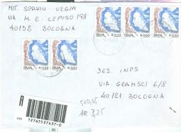 DONNE Euro 0,65 X 5, EURO 3,25 IN TARIFFA LETTERA RACCOMANDATA , 2005,TIMBRO POSTE BOLOGNA - 6. 1946-.. Republik