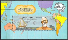 Samoa 1974 Organisationen Postgeschichte Weltpostverein UPU Forscher Willis Floss Age Unlimidet Seefahrt, Bl. 6 ** - Samoa (Staat)