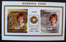 BURKINA FASO  John LENNON, BEATLES,  1 BLOC  Collectif  OR Et ARGENT. Neuf Sans Charniere. MNH - Zangers