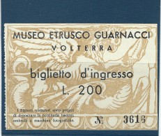 Admission Ticket.  Museo Etrusco Guarnacci.  Italy.  A-3537 - Tickets - Vouchers