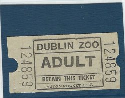 Admission Ticket.  Dublin Zoo. Ireland.  A-3573 - Tickets - Vouchers