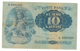 Estonia 10 Kr. 1937, Used, FREE SHIPP. TO USA. - Estland
