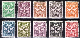 1968 MALTA - EUROPA - SEGNATASSE  TIPO DEL 1925 - COLLEZIONE COMPLETA 10 VALORI MNH** - Malta