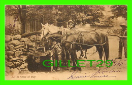 AGRICULTURE, ATTELAGES DE CHEVAUX - HORSES AT THE CLOSE OF DAY - TRAVEL IN 1907 - VALENTINE & SONS, PUB. - - Attelages