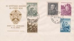 Czechoslovakia / First Day Cover (1951/18) Praha 1 (b): Day Of Czechosl. Army (soldiers; Tank; Klement Gottwald) - Berufe