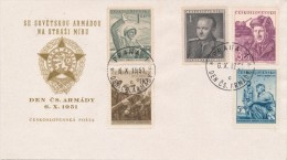 Czechoslovakia / First Day Cover (1951/18) Praha 1 (c): Day Of Czechosl. Army (soldiers; Tank; Klement Gottwald) - Berufe