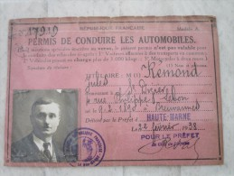PERMIS DE CONDUIRE LES AUTOMOBILES - Titres De Transport