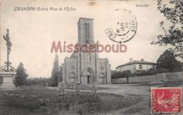 42  - CHANDON - Place De L'Eglise  - Enfants - 1909 - 2 Scans - Otros Municipios