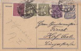 INFLA  Ganzsache P 146 I + ZFr. 158, 159, 224 A, Postreiter, Gestempelt: Wiesbaden 16.10.1922 - Allemagne