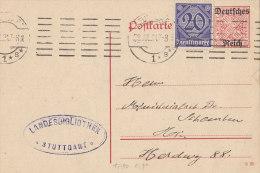 INFLA  DR Dienst Ganzsache DP 14/01 + ZFr. DRD 26, Postkarte Gestempelt: Stuttgart 1*s* 28.JUL 1921 - Infla