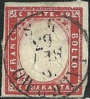 1855-63 - SARDEGNA - 40 CENT. - 16E - PALERMO - VARIETA' - SIGNED BALLABIO -  SPL - EURO 110,00+++ - Sardaigne