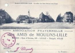 NORD PAS DE CALAIS - 59 - NORD -LILLE - Amis Des Moulins - Carrefour Des Rues Arras Et DDouai - Carte De Membre  - Trou - Non Classés