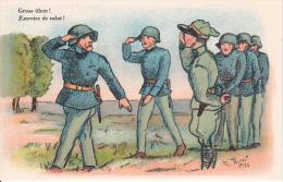 AK Gruss üben! - Exercice De Salut! - Schweizer Armee . Militaria (16101) - Humor