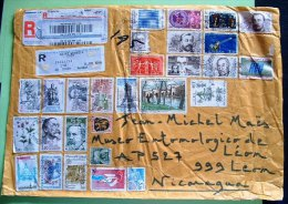 France 2013 Front Of Cover To Nicaragua - CEPT UNESCO Flowers Paintings Arms Tax Jewelry UPU - France