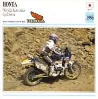 Honda 780 NXR  -  Rallye Paris-Dakar  -  Cyril Neveu  - Fiche Technique/Carte De Collection - Motociclismo