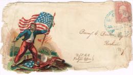 US  PATRIOTIC COVER SCARCE Scott #65 Large Blue Frederick, ME C. 1861 AV - Postal History