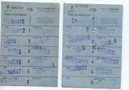 2 ABONOS SEMANALES FIFERENTES // METRO DE BARCELONA / A�OS 70