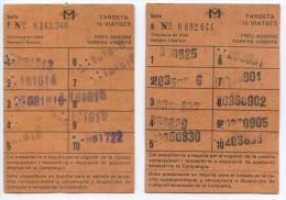 2 ABONOS 10 VIAJES FIFERENTES // METRO DE BARCELONA / A�OS 1981