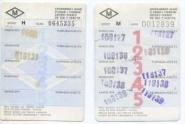 2 ABONOS SEMANALES  FIFERENTES // METRO DE BARCELONA / A�OS 1982