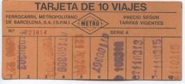 2 TARJETAS DE 10 VIAJES  FIFERENTES // METRO DE BARCELONA / A�OS 1978