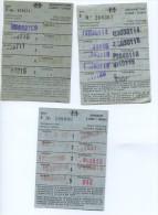 3 ABONOS SEMANALES  FIFERENTES // METRO DE BARCELONA / A�OS 1976