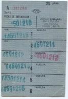 ABONO SEMANAL 25 PTAS // METRO DE BARCELONA / A�OS 1970