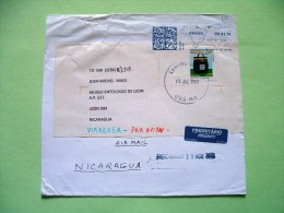 Brazil 2012 Cover To Nicaragua - Map Machine Franking - Mail Bag - Brazil