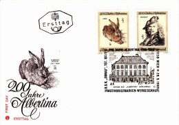 Ersttag 2 X ÖS 2,00 - 200 Jahre Albertina Mit Sstpl BSV Donau 1969 Dürer Rembrandt - FDC