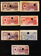 INDIAN STATES KHATOLI 7 DIFFERENT COURT FEE REVENUE FISCAL OLD RARE USED STAMPS #D5 - Dhar