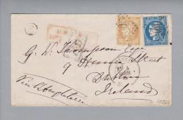 Algerien 1872-04-01 Brief Nach Dublin Irland Frankiert Mit Mi# 40a, 41 III - 1871-1875 Cérès