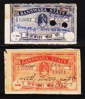 INDIAN STATES BANSWARA 2 DIFFERENT COURT FEE REVENUE FISCAL OLD RARE USED STAMPS #D5 - Dhar