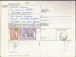 Bahrain 1976-80 Sheik Isa 3d Buff & Brn, 2d Rose & Vio Scott # 239, 50% Off Catalogue Value Bahrain Parcel Receipt Cover - Bahrain (1965-...)
