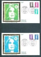 2 Envelloppes  Premier Jour Type Marianne Avec N°2617 A 2619 +2623/24   26/3/1990 - Unclassified