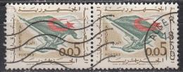 Algeria, 1963 - 5c Flag, Rifle, Olive Branch, Coppia - Nr.296 Usato° - Algeria (1962-...)