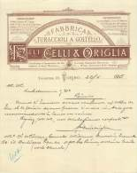 FACTURE LETTRE : TORINO . FAMILLI CELLI AND ORIGLIA . FABRICA TURACCIOLI A COLTELLO . 1885 . - Italia