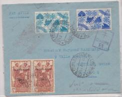 Cote Des Somalis France Libre Par Avion Censuré, Bel Affranchissement 1945 Pour La France - Côte Française Des Somalis (1894-1967)