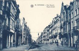 CP Belgique OSTENDE OOSTENDE Rue Royale Ligne De Chemin De Fer Tramway électrique Commerces Immeuble Bleutée - Oostende
