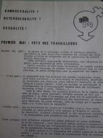 Tract Du G.L.H P.Q. (Groupe De Libération Homosexuelle - Politique & Quotidien) : 1er Mai, Fête Des Travailleurs, 1976 - Vieux Papiers