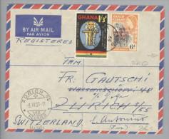 Afrika Ghana 1959-03-31 Accra R-Brief Nach Zürich Heuried Weitergel.>S.Antonio TI M.fr. - Ghana (1957-...)