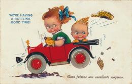 ENFANTS - LITTLE GIRL - MAEDCHEN -  Jolie Carte Fantaisie Enfants Dans Automobile - Dessins D'enfants