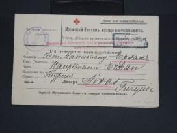 RUSSIE-Carte De Croix Rouge Russe De Prisonnier ( Avec Réponse) De Danemark  Pour La Turquie En 1917  Rare P7132 - Covers & Documents