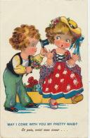 ENFANTS - LITTLE GIRL - MAEDCHEN - Jolie Carte Fantaisie Enfants Amoureux - Dessins D'enfants